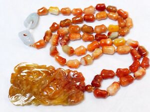 Chinese Antique Natural Rusty Jade Bead Necklace Pendant