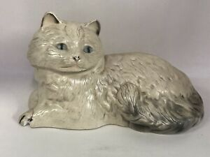 Vintage 1920 s Carnival Prize Chalkware Laying Cat Chalk Figure Antique Figurine