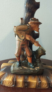 Black Forest Carved Lamp With Hunter
