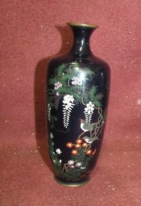 Antique Japanese Cloisonne Vase With Wisteria Signed