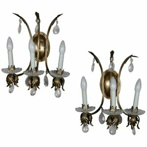 Pair Of Electric Classical Foliate Form 3 Candle Rock Crystal Wall Sconces