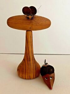 Mid Century Modern Cat And Mouse Teak Barware Set Corkscrew And Wine Stopper