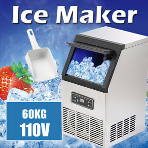 130lbs 60kg Auto Commercial Ice Cube Maker Machine Stainless Steel Bar 110v 270w