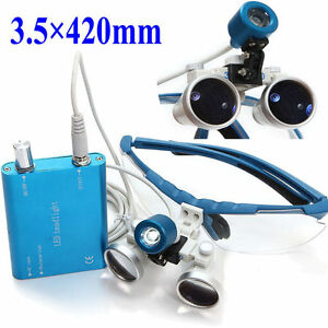 Dental Surgical Medical Binocular Loupes Led Head Light Lamp 3 5x420mm Usa New