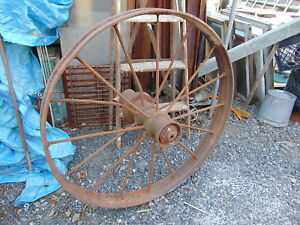 4 Antique Primitive Country Farm Cast Iron Metal Wagon Wheel 38 Around X 4