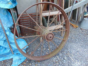 2 Antique Primitive Country Farm Cast Iron Metal Wagon Wheel 34 Around X 4