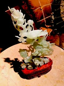 Vintage Chinese Jade Bird Statue Jade Bird Sculpture Carved Jade Birds On Tree