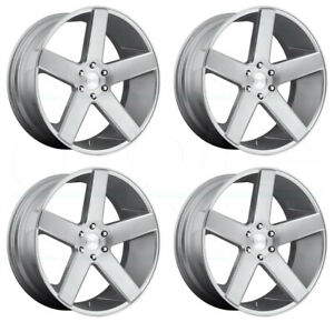 24x10 Dub Baller S218 6x5 5 6x139 7 30 Silver Machined Wheels Rims Set 4
