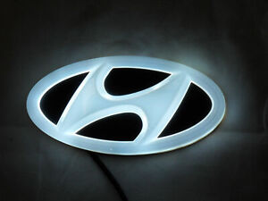 New Backlit Chrome White Led Oval Badge Emblem Lamp For Hyundai Free Ship