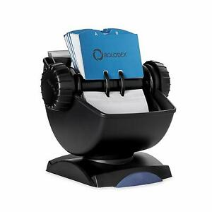Rolodex Covered Rotary Card File Swivel 200 Sleeves 400 Card Capacity Black
