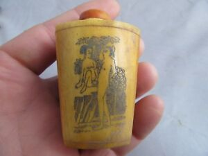 Chinese Master Hand Painted Characters The Story Cattle Bone Snuff Bottle S08