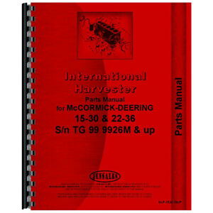 New Mccormick Deering 15 30 Tractor Parts Manual