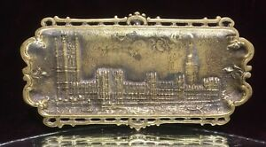 Antique Vtg Brass Bronze England Palace Of Westminster Card Coin Pin Ash Tray