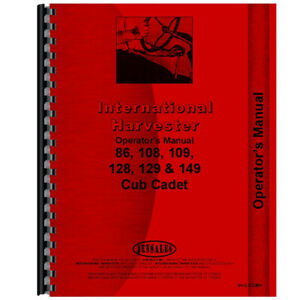 New Tractor Operators Manual For International Harvester Cub Cadet 86 Tractor