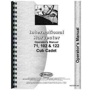 New Tractor Operators Manual For International Harvester Cub Cadet 102 Tractor