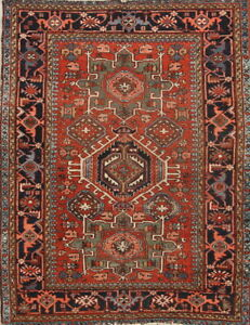 One Of A Kind Antique Vegetable Dye Gharajeh Persian Tribal Hand Knotted 4x5 Rug