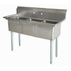 Lj1416 3 Three Compartment Nsf Commercial Sink Bowl 14 X16