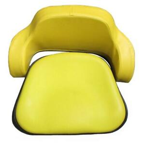 Seat Cushion Set 2 Pc Steel Back Yellow Vinyl For John Deere 4020 7700 4230