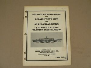 Allis Chalmers 14ft Tractor Disc Harrow Owners Manual Repair Parts List 1936