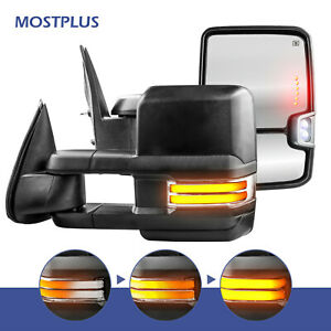 Power Heated Sequential Signal Tow Mirrors For 99 02 Chevy Silverado 1500 2500