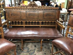 Vintage Spanish Revival Carved Settee Bench 4 Chairs W Tooled Leather Seats