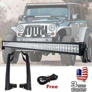 52 3600w Led Work Light Bar Mount Bracket For Offroad Jeep Wrangler Jk 07 18