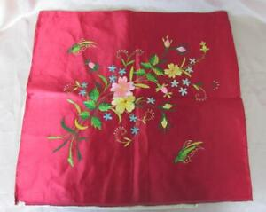 19c Antique Hand Embroidered Silk Pillow Cover Table Cloth Marked