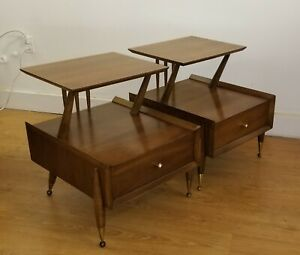 Beautiful Mid Century Walnut And Pecan Kent Coffey Auburn Night Stands C 1960
