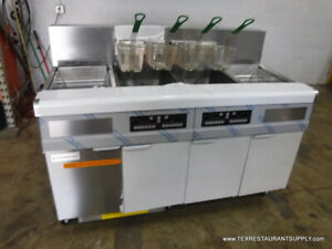 Frymaster Fmj250esc Gas Double Digital Fryer 2 Dump Stations Filtration System