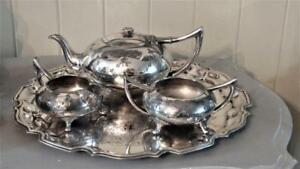 Charming Vintage Civic Silver Plated Tea Service With Scalloped Tray