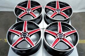 16x7 Red Wheels Fits Toyota Camry Celica Matrix Is200 Civic Accord Wrx Rsx Rims