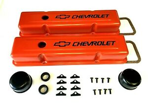 Chevrolet Steel Valve Covers Orange Tall Chevy Engine Dress Up Kit 283 400 New