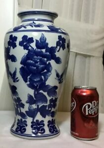 12 Tall Chinese Blue And White Floral Butterfly Design Porcelain Vase