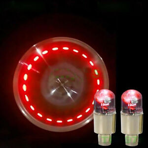 4x Red Led Car Auto Suv Wheel Tyre Tire Air Valve Stem Caps Decoration Light