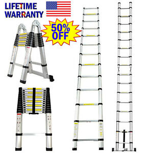 Aluminum Collapsible Telescopic Ladder Loft Step Ladders Extension Foldable 3 5m