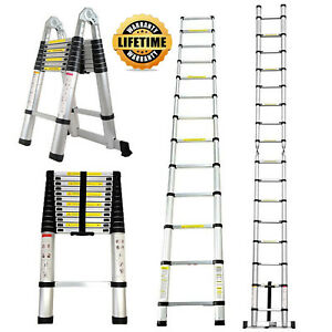 10 5 12 5 16 5ft Collapsible Aluminum Ladder Fold Extend Telescopic Garden Tool
