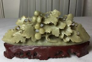 Vintage Chinese Hand Carved Soapstone Grape Vine Figurine Statue With Stand
