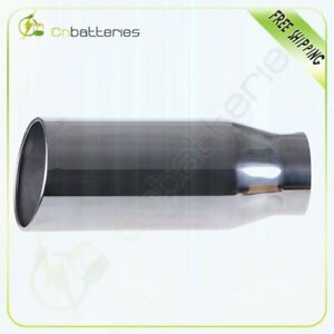 Roll Edge Exhaust Tip 5 Inlet 7 Outlet 18 Long Polished Stainless Bolt On