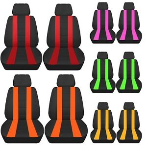 Vw Beetle Front Car Seat Covers Charcoal With Stripes In Pink red blue green