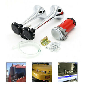 12v 178db Dual Trumpet Air Horn Super loud For Trucks Rv Car Trailer Boat Silver