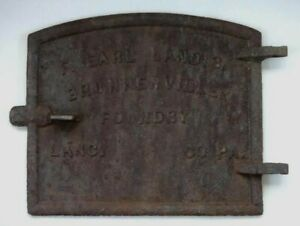 Antique Cast Iron Stove Door Cover F Earl Landis Brunnerville Foundry Lanc Co Pa