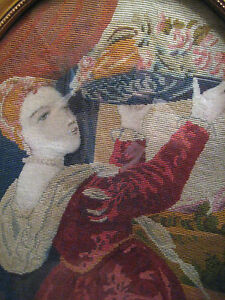 19th C Exceptional Antique Needlepoint Petit Point French Tapestry