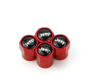 4 Car Wheel Tire Valve Caps Stem With Red Jeep Skull Cherokee Laredo Wrangler