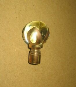 Antique Clear Glass Globe With Brass Holder Lamp Finial Topper Stock Part G