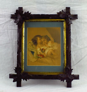Antique Wood Carved Leaf Picture Frame With Matt And Print