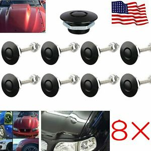 8 Quick Latches Push Button Racing Car Hood Pin Bonnet Lock Bumper Clip Us Ship