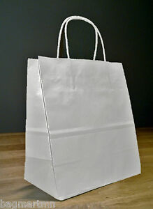 10x5x13 White Paper Debbie Shopping Gift Bags With Rope Handles