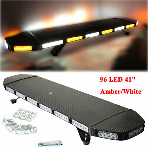 96 Led 41 Light Bar Tow Truck Top Roof Flash Strobe Amber White Flashing Bar Us