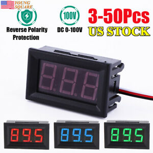 3 50pcs Mini Red blue green Led Display Dc 100v Gauge Meter Voltmeter Gauge