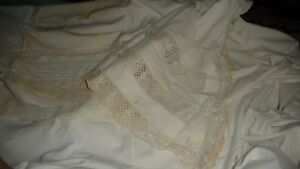 844 Antique White Bed Top Sheet 64 W X 80 L With 22 1 2 Fold Over